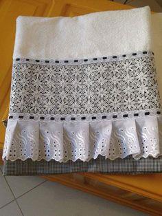 Bordado em tecido xadrez - Toalha/Amostra (Detalhes... Visitar)