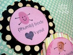"""{thumbprint valentines} - Simply Kierste, using some modge podge you can add a little glitter and make it so that it has """"braill"""" like feeling on it. Make it contrasting in colors so that those who can't see, can at least feel!"""