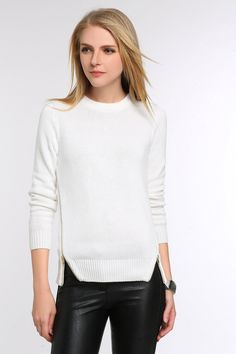 Side Zippered Fitted Knit Sweater: we are obsessed with white clothing! This sweater is beautiful, featuring two side zips for fun White Clothing, Everyday Items, White Outfits, Designer Collection, Designers, Turtle Neck, Knitting, Fitness, Tricot