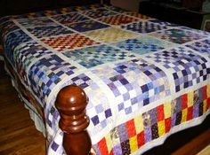 Multicolored queen size scrappy quilt by madeinUSAbyLinda on Etsy