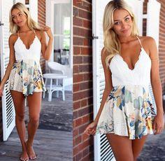 High Waist Bodysuit Pant Cheap Pants, Lace Flowers, Summer Shorts, Printed Shorts, Flower Prints, High Waist, Backless, Bodysuit, V Neck