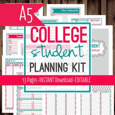 instant download student college planner pink chevron printable