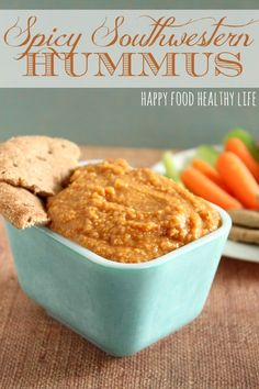 Spicy Southwestern Hummus. The easiest hummus you've ever made with more kickin' flavor than you could imagine! No Tahini Necessary! // Happy Food Healthy Life