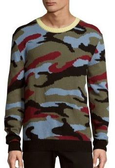 Valentino Long Sleeve Cashmere Sweater In Camo Multi Valentino Men, Men's Swimsuits, Cashmere Sweaters, Rib Knit, Camo, Men Sweater, Mens Fashion, Clothes For Women, Long Sleeve