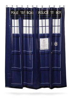 Doctor Who TARDIS SHOWER CURTAIN With Hooks Officially Licensed  #DoctorWhoBBC #SciFi