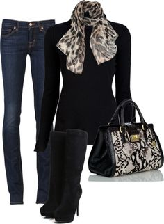 great basics: skinnies, black top and a scarf. All timeless pieces.