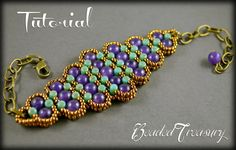 """""""History"""" - a beaded bracelet that seems to come to you from far distant times and makes you travel into history and enjoy the golden times. This is a little treasure that offers a timeless look. This is a design with Czech two-hole Rulla beads, 6mm round amethyst gemstone beads, and seed beads size 11/0.  Tutorial available in my etsy shop BeadedTreasury."""