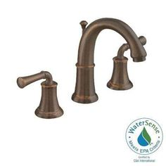 Portsmouth Single Hole 2-Handle Mid-Arc Bathroom Faucet with Speed Connect Drain in Oil Rubbed Bronze