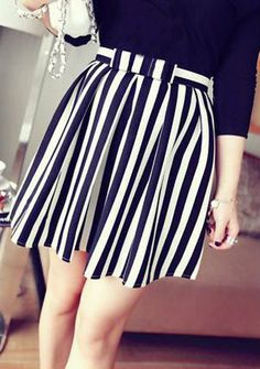 $8.65 Stylish Women's Bowknot Embellished Striped Skirt