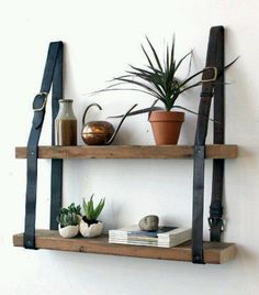 Gorgeous DIY leather belt & wood shelves from Design Sponge. Diy Leather Belt, Recycled Leather, Recycled Wood, Recycled Tires, Repurposed Wood, Men's Leather, Handmade Leather, White Leather, Diy Dorm Decor