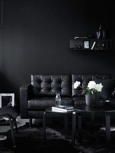 IKEA LANDSKRONA Sofá 2 plazas Grann bomstad negro metal Las superficies de  mayor contacto llevan piel con flor teñida en profundidad de mm de grosor ba35bd2663ca