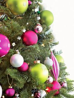 White trees, Green decoration and Hot pink on Pinterest