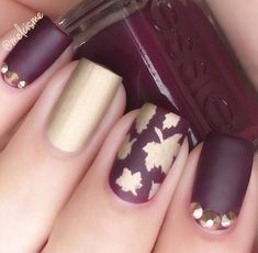 Autumn Leaf Nail Stencils are perfect for fall manicure nail designs. Interiors can be used as leaf stickers. Autumn nail art made easy! Purple Nail Designs, Fall Nail Art Designs, Burgundy Nails, Purple Nails, Fancy Nails, Pretty Nails, Hair And Nails, My Nails, Oval Nails