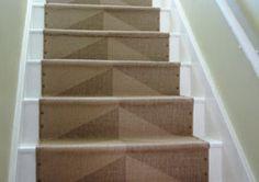 Stair runner made from Ikea Hessum rug.
