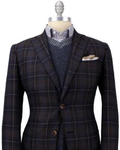 Luciano Barbera | Blue, Brown and Gold Plaid Sportcoat | Apparel | Men's