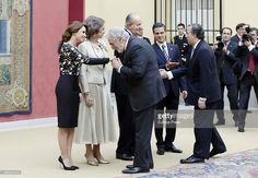 Mexican President's wife Angelica Rivera, Queen Sofia of Spain, Placido Domingo, King Juan Carlos of Spain and Mexican President Enrique Pena Nieto host a reception on June 10, 2014 in Madrid, Spain.