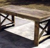 Three Discarded Shipping Pallets Get a New Lease on Life as a Dining Table.