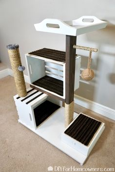 DIY Cat Tower How to build a modern crate cat condo or cat tr. - DIY Cat Tower How to build a modern crate cat condo or cat tree with repurposed - Diy Jouet Pour Chat, Diy Cat Tower, Homemade Cat Tower, Cat House Diy, House For Cats, Cat Tree House, Mother Daughter Projects, Mother Daughters, Mom Daughter