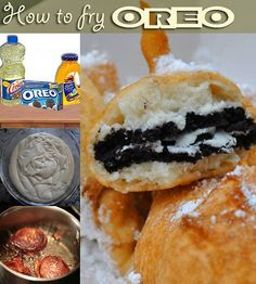 Deep Fried Oreos. Oreos get dipped into pancake batter and fried