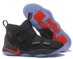 cb2afc37554 James soldier 11 basketball shoes black Bright red - Dicount Nike Store