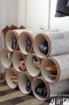 30+ Creative Uses of PVC Pipes in Your Home and Garden --> PVC Pipe Shoe Organizer #DIY #PVC #shoerack #storage