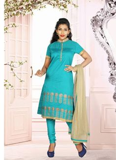 Awesome Sky Blue & Cream Cotton #Salwar #Suit With Stone Work #pakistanisuits #anarkalisuits #designersuits #womenapparel #womenfashion