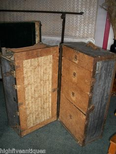 Old Vintage Steamer Trunk Wardrobe Travel The Murphy Line PC Murphy Suitcase