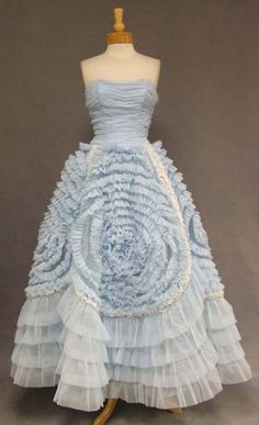 Pale blue 1950's gown   Similar to the swirls on Jackie Kennedy's Wedding Dress.