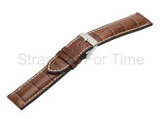 SFT Alligator Grain Watch Band in Brown with contrast stitching