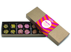 RMCF Spring Sweets Assortment contains 12 assorted creams including: four dark lemon creams, four milk cherry chocolate chip creams, and four milk raspberry creams.