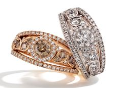 Rosendorff Cocktail Rings featuring Brilliant Cognac and White Diamonds set in 18ct Rose and White Gold