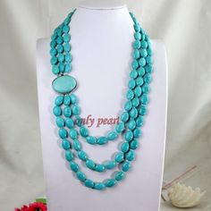 Turquoise Necklace 3row 2330inches 1318mm Chunky long by OnlyPearl