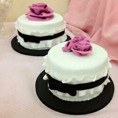Pink white and balck cake