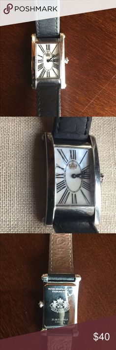 Juicy Couture Mother of Pearl Watch Juicy Couture Watch has a mother of pearl Face, black leather adjustable band, water resistant and all stainless steel.  Stainless steel frame has some minor scratches as pictured. New battery installed 11/17/2917. Juicy Couture Accessories Watches