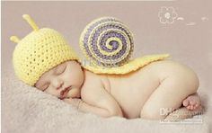 Sweet Snail Newborn Baby Boy Girl Crochet Aminal Beanie Hat Costume Set Photo Photography Prop For 0-6 Months