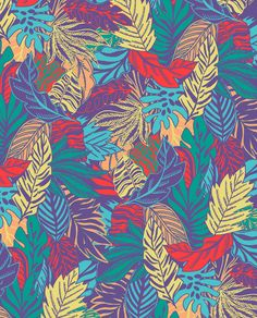 Graphic hand drawn neon tropical leaf repeat by marisa hopkins.