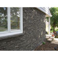 NextStone Slatestone Pewter in. x 43 in. Faux Stone Siding Panel - The Home Depot Stone Siding Panels, Faux Stone Siding, House Siding, House Paint Exterior, Exterior Design, House Front, My House, Exterior Siding Options, Faux Panels