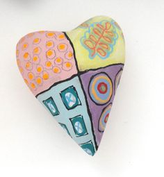 Love Folkart Ceramic Heart Wall Sculpture Pillow   by Mudgoddess, $38.00