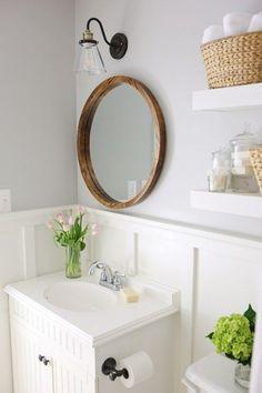 Master Bathroom Makeover Reveal. Modern Farmhouse bathroom remodel. Small bathroom budget makeover, DIY bathroom ideas.