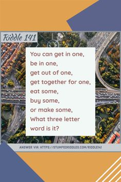 Riddle: You can get in one, be in one, get out of one, get together for one, eat some, buy some, or make some, what three-letter word is it? #stumped #stumpedriddles #riddles #brainteasers #riddlebooks Three Letter Words, Creative Class, Brain Teasers, Riddles, Getting Out, Some Fun, Teacher Gifts, Funny Stuff, Entertaining
