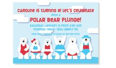 Polar Bear Plunge Winter Swimming Party Invitation from PinkPeppermintPaper.com; coordinating thank yous, favor tags and stickers available Swim Birthday Parties, Swim Party Invitations, Dog Birthday, Lets Celebrate, Kids Christmas, Polar Bear, Birthdays, August James, Girls Camp