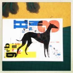greyhound fingerprint stencil on postcard   www.letsmakesomegreatart.com