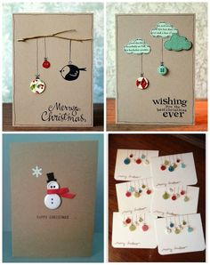 17 Wonderful Christmas Cards You Can Make In Just 30 Minutes - NiftyRead Button Christmas Cards, Homemade Christmas Cards, Christmas Cards To Make, Christmas Projects, Homemade Cards, Christmas Holidays, Cozy Christmas, 242, Holiday Crafts