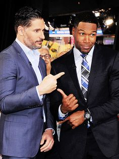 Star Tracks: Wednesday, May 6, 2015   THIS GUY!   Joe Manganiello and Magic Mike XXL costar Michael Strahan get to the point on Tuesday during the actor's stop by Good Morning America in N.Y.C.
