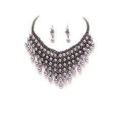 Metallic Gray Faux Pearl Statement Necklace Set | The Alchemy Shop, LLC