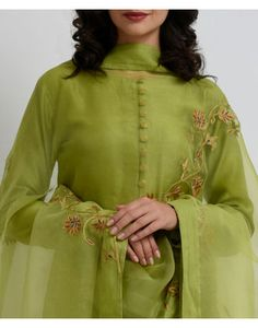 Lime Punch Resham & Gold Tilla Work Dupatta With Suit Churidar Designs, Abaya Designs, Blouse Designs, Latest Salwar Suit Designs, Neck Designs For Suits, Embroidery On Clothes, Embroidery Patterns, Indian Wear, Indian Suits