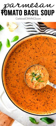 This Tomato Basil Soup recipe is our family favorite!  Its super easy without any chopping! bursting with flavor and I love the addition of Parmesan!