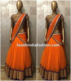 Simple and Stylish Half Saree – Simple and stylish designer half saree by Shilpa Reddy featuring bright orange lehenga with gold border and matching dupatta with embellished gold border Half Saree Designs, Lehenga Designs, Saree Blouse Designs, Half Saree Lehenga, Saree Dress, Anarkali, Lehenga Blouse, Indian Attire, Indian Wear