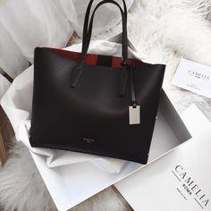 8fc57551c11437 Fab Fashion Fix — Elegant black Camelia Roma tote bag.  #pursesxcelenergycenter Camelia Roma Bag