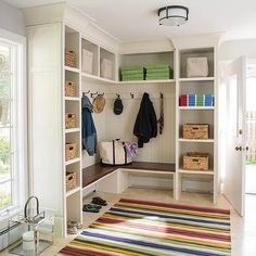 L Shaped Mudroom Bench with Beadboard Trim